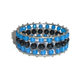 Blue Black Beaded Bangle Bracelet Silver Accent